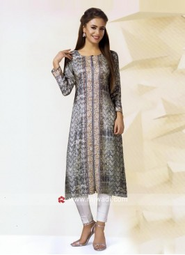 Printed Casual Kurti with Sleeves