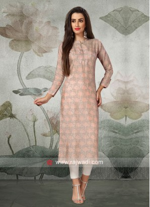 Printed Casual Kurti with Thread Work