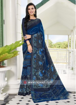 Printed Casual Saree with Blouse