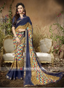Printed Casual Saree with Lace Border