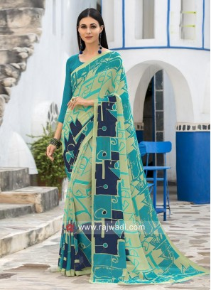 Printed Casual Saree with Piping Border