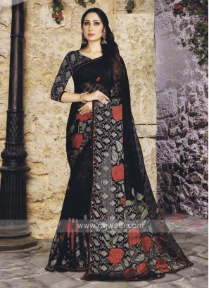 Printed chiffon Brasso Saree In Black