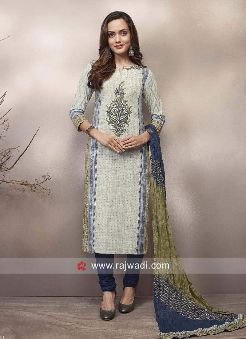 Printed Cotton Casual Straight Churidar Suit