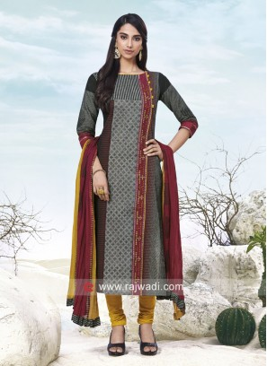 Printed Cotton Churidar Salwar Suit