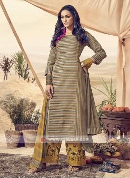 Shagufta Printed Cotton Palazzo Salwar Suit