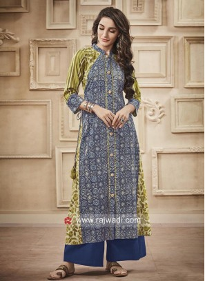 Printed Cotton Palazzo Suit with Broach