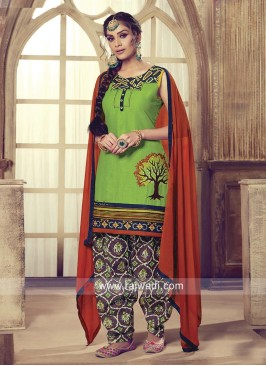 Printed Cotton Patiala Suit