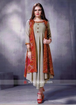 Printed Cotton Rayon Layer Kurti