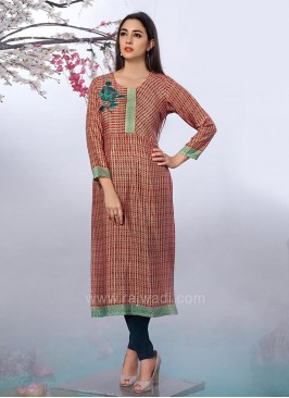 Printed Cotton Rayon Straight Kurti