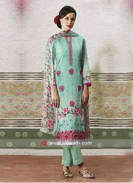 Printed Cotton Satin Salwar Suit