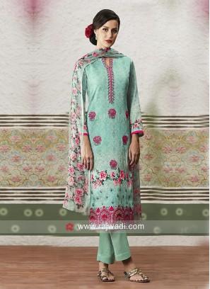 Printed Cotton Satin Salwar Suit