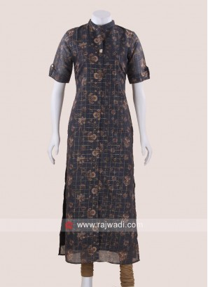Printed Cotton Silk Checks Kurti