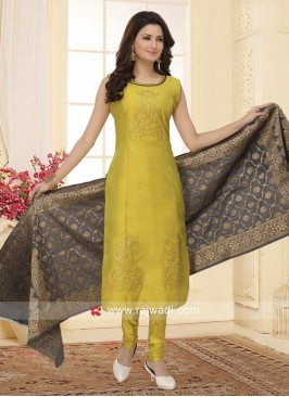 Printed Cotton Silk Churidar Suit