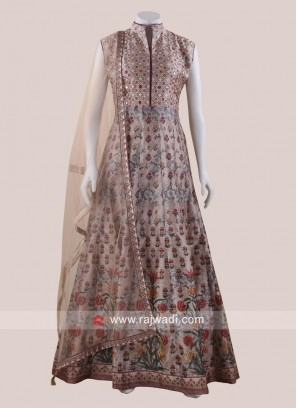 Printed Cotton Silk Floor Length Gown with Dupatta
