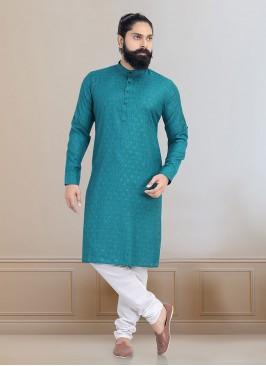 Printed Cotton Silk Kurta Pajama