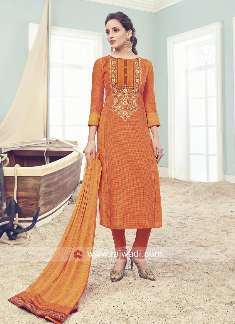 Printed Cotton Silk Salwar Suit