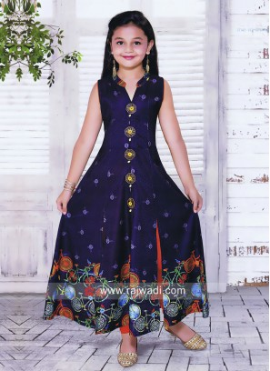 Printed Cotton Silk Salwar Suit for Girls
