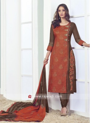 Printed Cotton Silk Stitched Salwar Suit