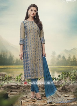 Printed Cotton Silk Suit with Shaded Dupatta