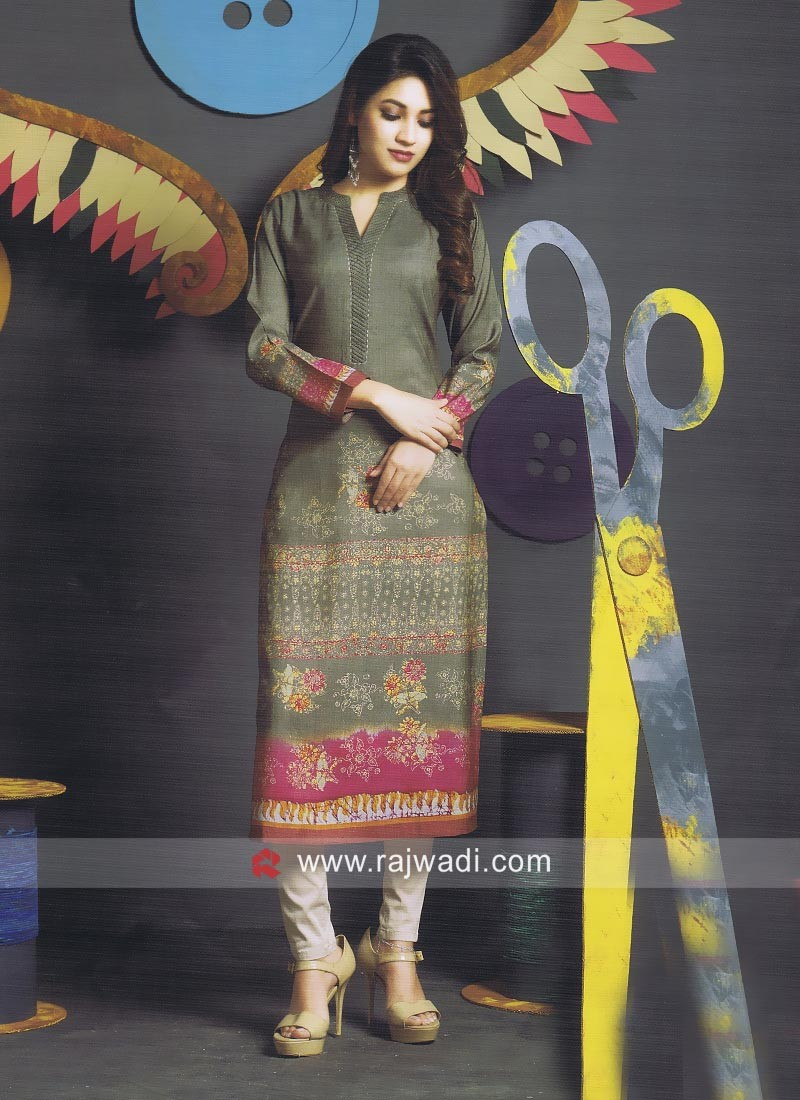Printed Cotton Straight Fit Kurti