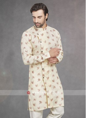 Printed Cream Color Kurta