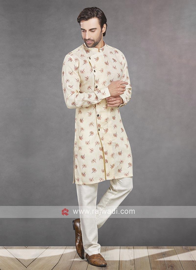 Printed Cream Color Kurta Pajama