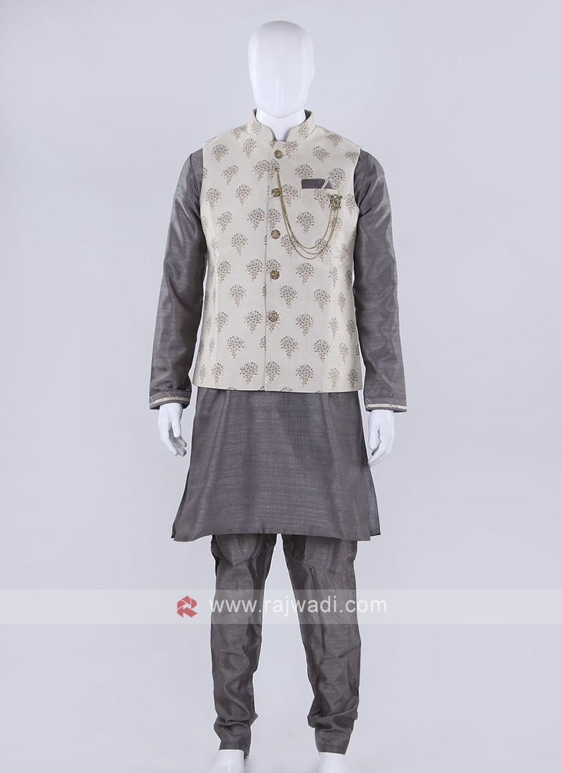 printed cream color nehru jacket