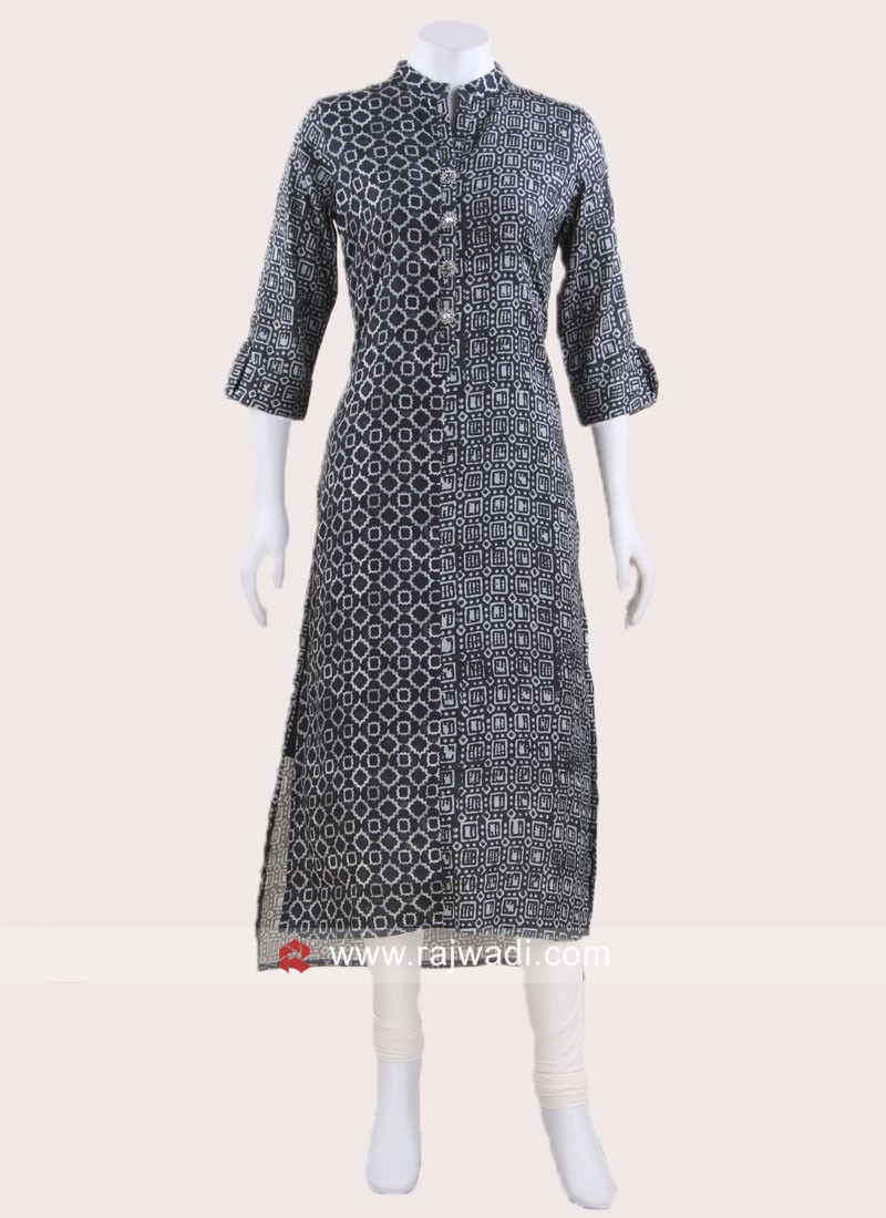 Printed Crepe Silk Short Long Kurti
