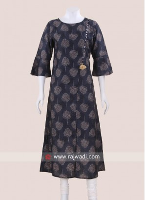 Printed Crepe Tunic with Bell Sleeves