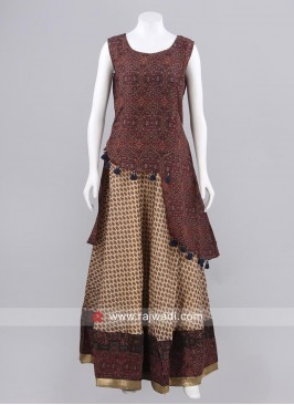Printed Double Layered Tassels Kurti