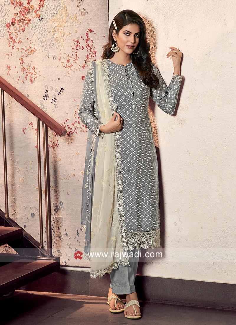 Printed Dress Material In Grey Color