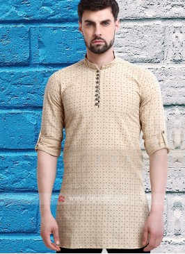 printed fawn color kurta