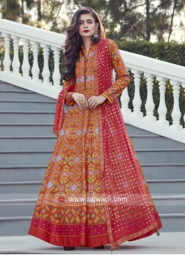 Printed Floor Length Anarkali with Buttons