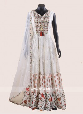 Printed Floor Length Cotton Silk Anarkali Suit