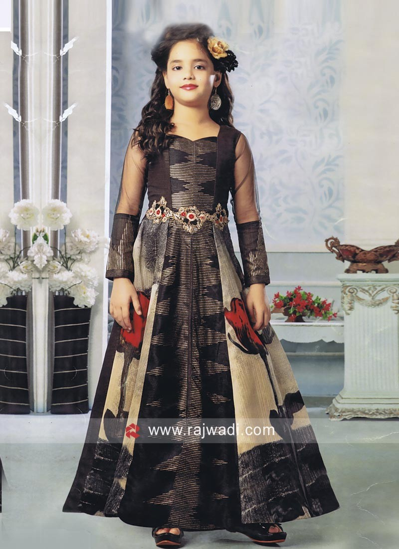 Printed Floor Length Gown for Girls