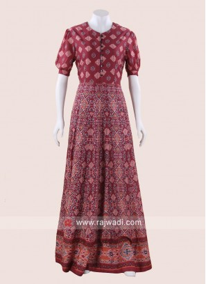 Printed Floor Length Party Gown