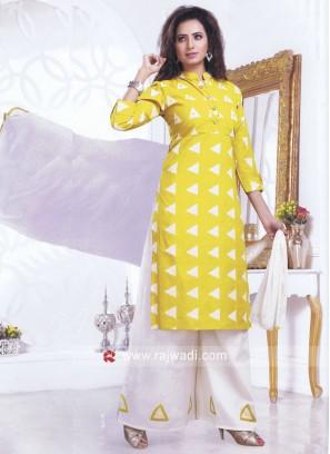 Printed Golden Yellow Salwar Kameez