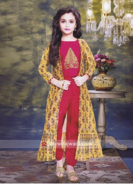 Printed Jacket Style Indo Western Suit for Kids