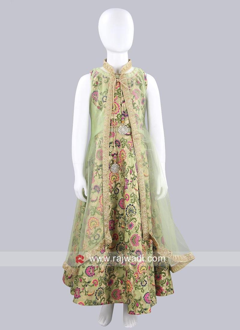 Printed Jamavaram Gown with Long Koti