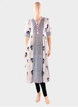 Printed Khadi Cotton Anarkali Kurti