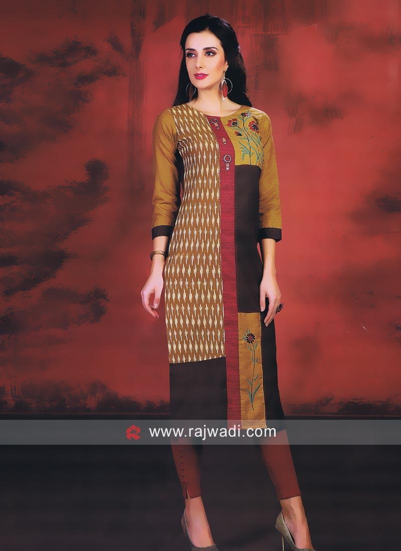 Printed Khadi Cotton Kurti with Buttons