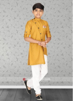 Mustard Yellow Linen Fabric Kurta Set