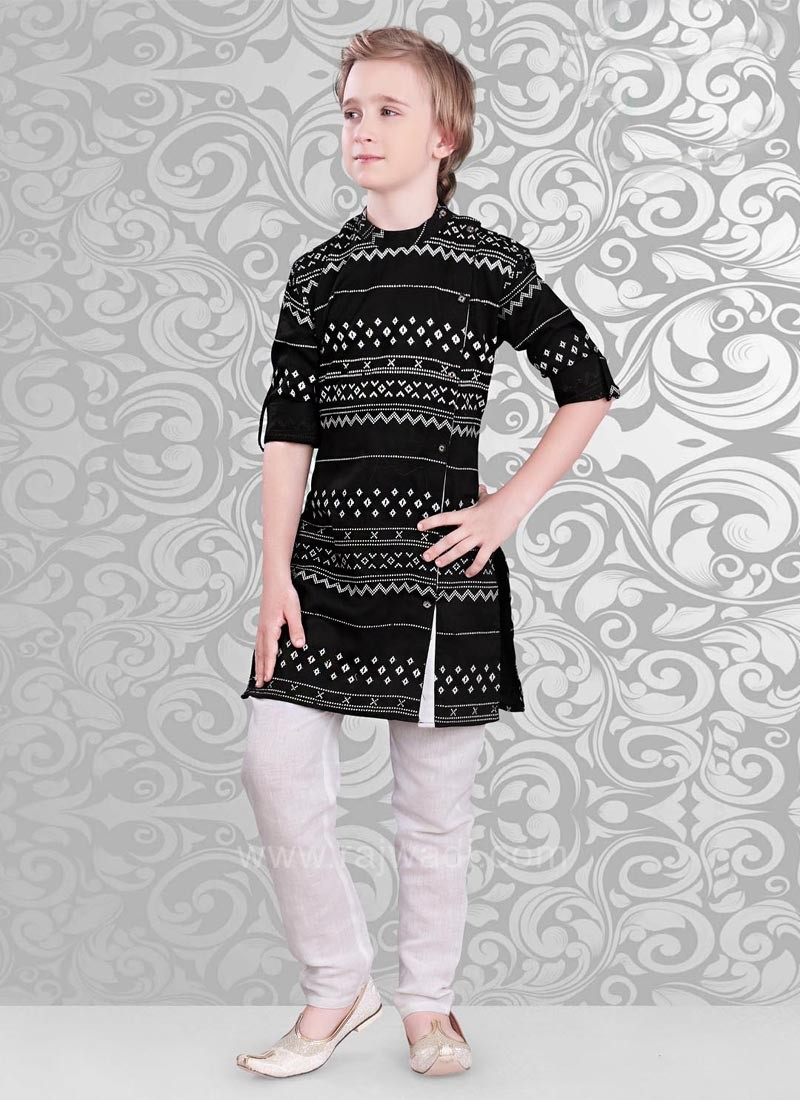 Printed Kurta and Off White Color Bottom