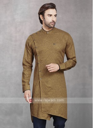 Printed Kurta In Dark Beige