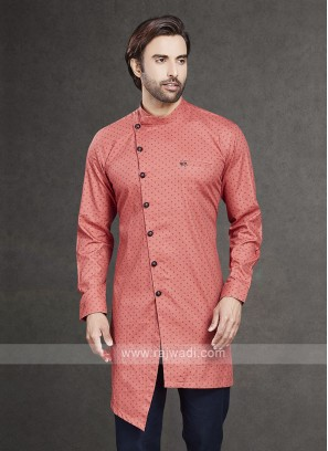 Printed Kurta In Peach