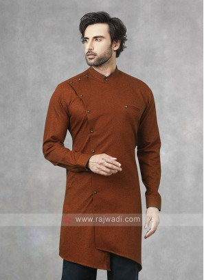Printed Kurta In Rust