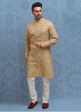 Printed Kurta Pajama In Cotton Silk
