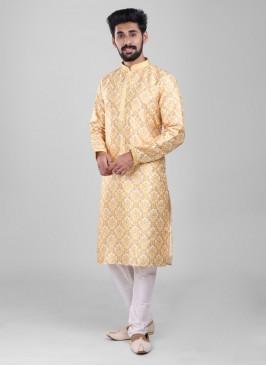 Printed Kurta Pajama In cream and Yellow Color