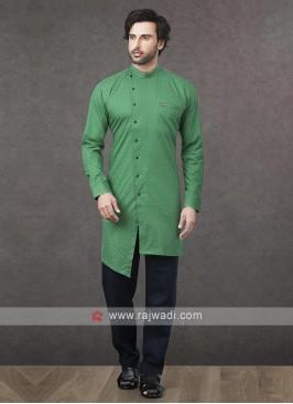 Printed Kurta Pajama In Green