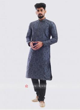 Printed Kurta Pajama In Grey